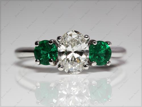 White Gold  Gem Stone Ring