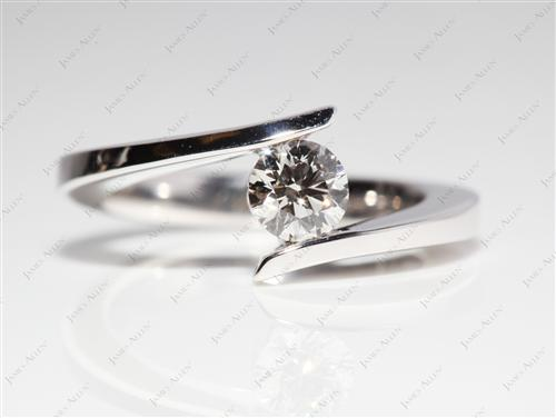 White Gold 0.40 Round cut Diamond Rings