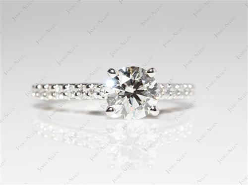 Platinum 0.79 Round cut Engagement Rings With Side Stones