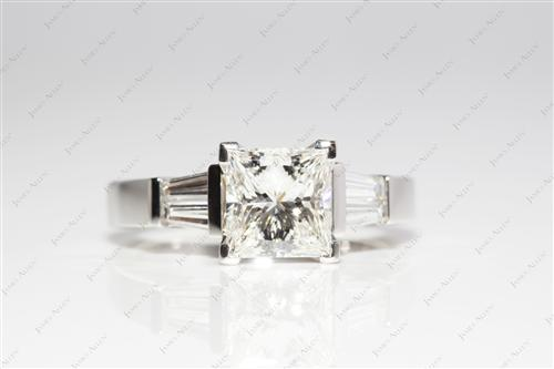 Platinum 1.52 Princess cut Engagement Rings