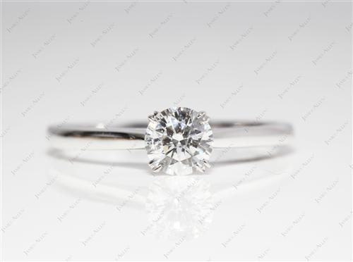 White Gold 0.71 Round cut Engagement Rings