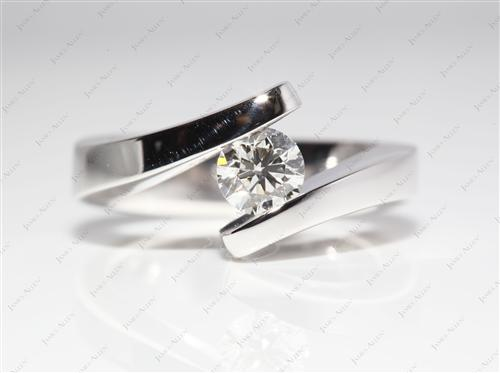 White Gold 0.61 Round cut Diamond Rings