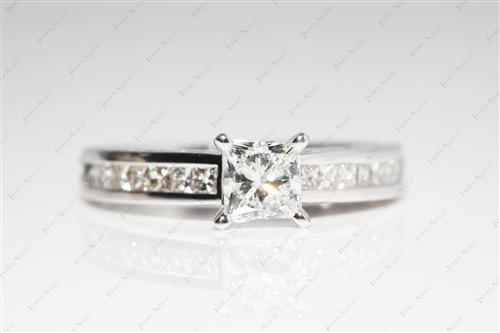 White Gold 0.72 Princess cut Bridal Set Wedding Rings