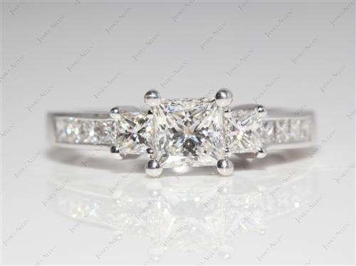 White Gold 0.76 Princess cut Diamond Ring With Sidestones