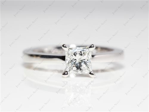 Platinum 0.50 Princess cut Diamond Solitaire Rings