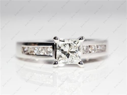 White Gold 0.93 Princess cut Wedding Ring Sets