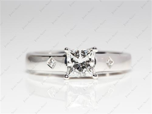 White Gold 0.73 Princess cut Solitaire