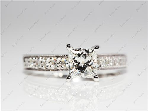 White Gold 1.23 Princess cut Engagement Ring