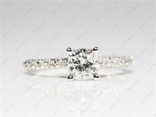 White Gold 0.72 Cushion cut Diamond Pave Ring