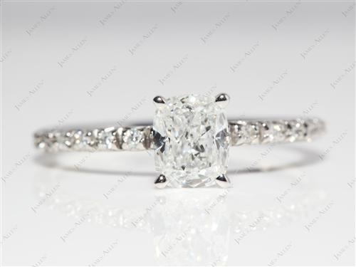Platinum 0.91 Cushion cut Pave Setting Rings