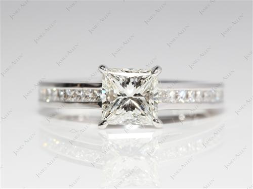 White Gold 1.06 Princess cut Diamond Channel Rings