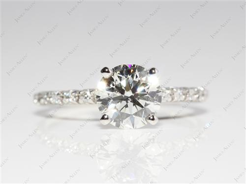 Platinum 1.40 Round cut Diamond Pave Ring