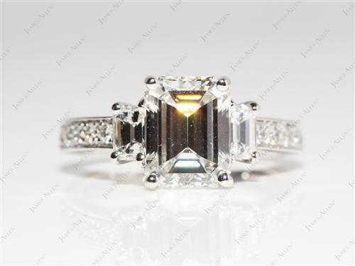 Platinum 2.27 Emerald cut Diamond Rings