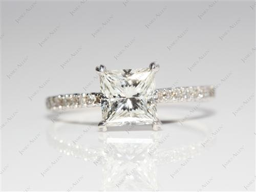 White Gold 1.10 Princess cut Pave Engagement Ring