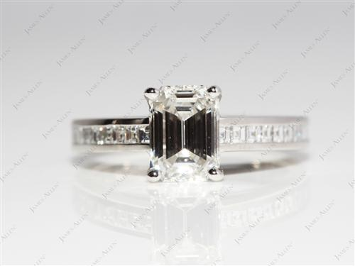 Platinum 1.22 Emerald cut Channel Set Diamond Engagement Ring