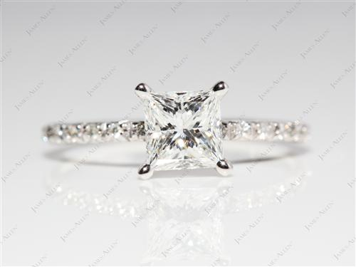 White Gold 1.04 Princess cut Engagement Ring Micro Pave