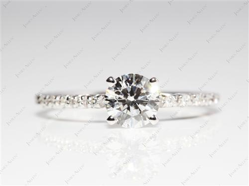 White Gold 0.90 Round cut Pave Setting Rings