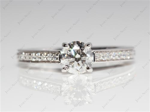 White Gold 0.60 Round cut Pave Engagement Ring