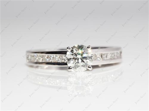 White Gold 0.75 Round cut Channel Set Diamond Engagement Rings