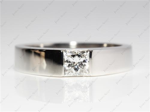 Platinum 0.74 Princess cut Tension Set Engagement Ring