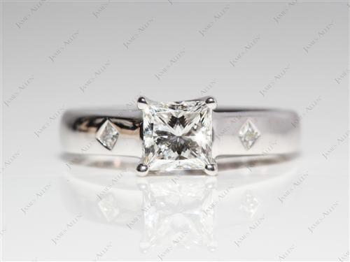 White Gold 0.72 Princess cut Solitaire Ring Mountings