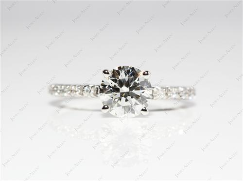 Platinum 1.03 Round cut Engagement Rings Pave