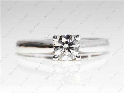 White Gold 0.62 Round cut Solitaire Diamond Rings