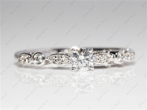 White Gold 0.30 Round cut Engagement Rings Side Stones