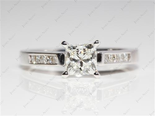White Gold 0.84 Princess cut Channel Set Diamond Engagement Rings