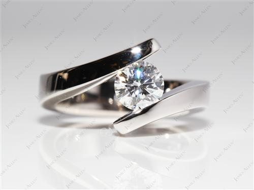 White Gold 0.92 Round cut Diamond Tension Rings