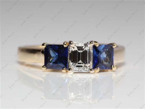 Gold 0.43 Emerald cut Gemstone Engagement Ring