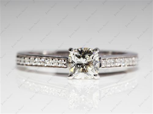White Gold 0.71 Cushion cut Pave Diamond Engagement Rings