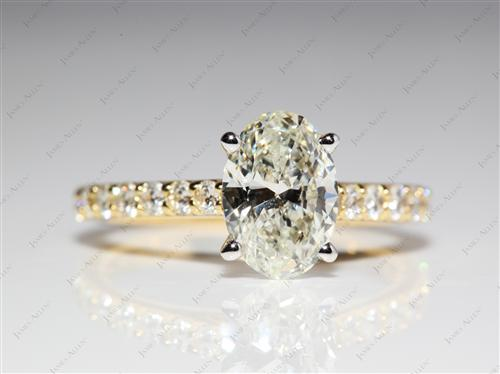 Gold 1.34 Oval cut Diamond Ring With Sidestones