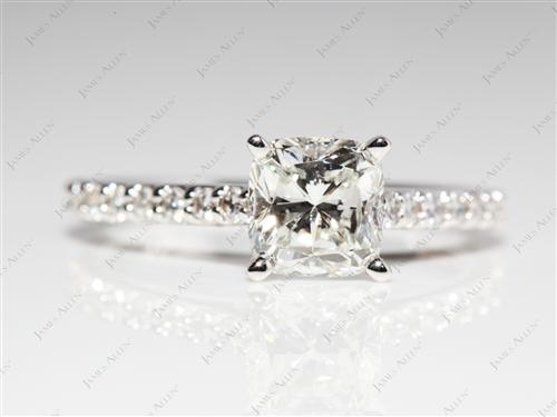 White Gold 1.15 Cushion cut Engagement Rings Side Stones