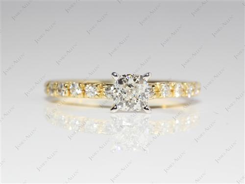 Gold 0.47 Cushion cut Pave Ring Setting