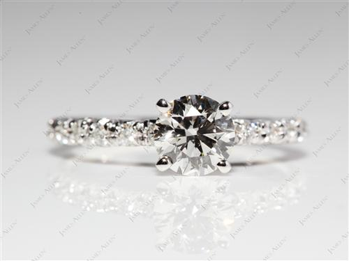 White Gold 0.81 Round cut Engagement Rings Pave