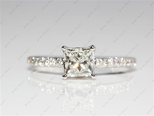 White Gold 0.84 Princess cut Engagement Rings Pave