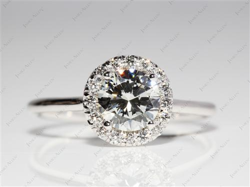 White Gold 0.92 Round cut Micro Pave Rings