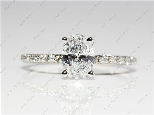 Platinum 1.01 Oval cut Pave Diamond Engagement Ring