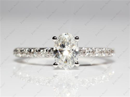 White Gold 0.90 Oval cut Pave Ring Settings