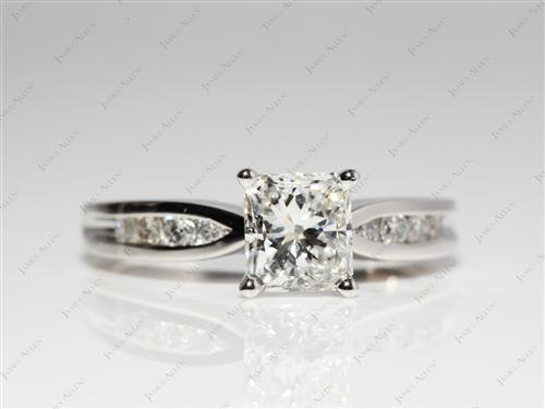 Platinum 1.22 Radiant cut Channel Setting Engagement Rings