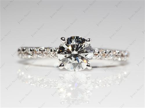 White Gold 0.81 Round cut Diamond Pave Rings