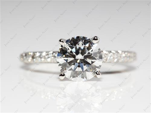 Platinum 1.30 Round cut Engagement Ring Side Stones