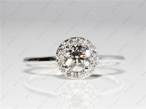 White Gold 0.52 Round cut Pave Ring Mountings