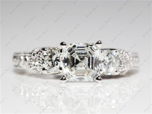 Platinum 1.25 Asscher cut Diamond Ring With Sidestones