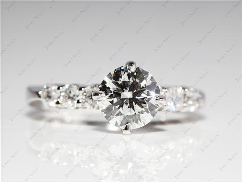 White Gold 1.15 Round cut Engagement Ring With Side Stones