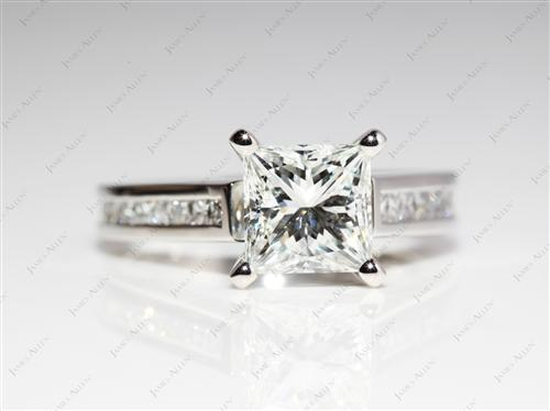 Platinum 1.52 Princess cut Channel Engagement Ring