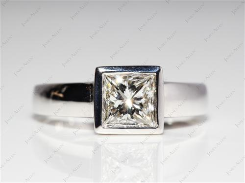 White Gold 0.87 Princess cut Tension Set Diamond Ring