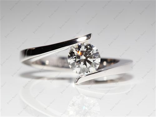 White Gold 0.77 Round cut Solitaire Engagement Rings