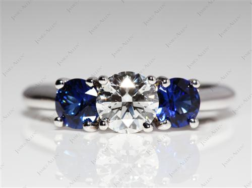 White Gold 0.62 Round cut Gem Stone Rings